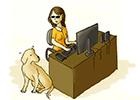 Ilustração de uma mulher cega, utilizando um computador