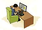 Ilustração de um homem com deficiência motora usando um computador