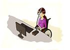 Ilustração de uma jovem tetraplégica, na cadeira de rodas, usando o computador com o auxilio de um ponteiro na cabeça