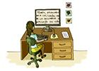 Ilustração de uma mulher usando o computador com letras grandes