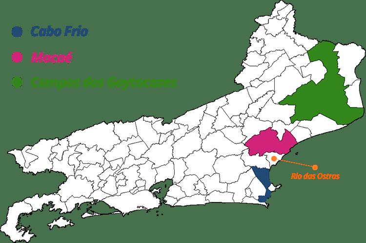 Mapa do estado do Rio de Janeiro destacando as distâncias das cidades de Cabo Frio, Macaé e Campos dos Goytacazes para Rio das Ostras