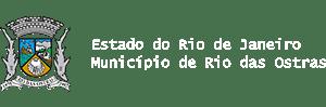 Brasão de Governo e ao lado o texto Rio das Ostras Prefeitura
