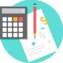 Execução Orçamentária: Ícone ilustrando um lápis e uma calculadora sobre uma folha de papel