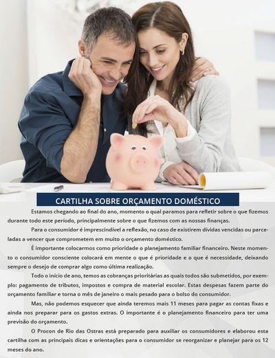 Capa da Cartilha de Orçamento Doméstico
