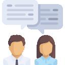 Conselhos Municipais: Ícone ilustrando dois conselheiros com um balação de conversa sobre eles