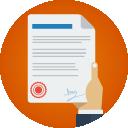 Contratos e Aditivos: Ícone ilustrando uma mão segurando uma folha de papel