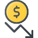 Despesas: Ícone ilustrando uma moeda e uma seta descendente