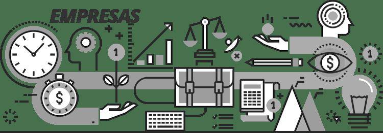 Portal do Servidor - Ilustração com vários elementos do mundo empresarial