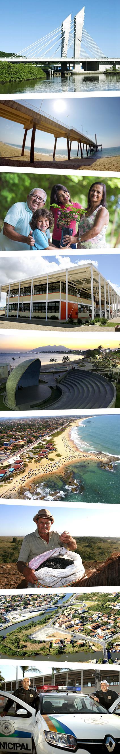 Montagem de várias fotos da cidade de Rio das Ostras e serviços oferecidos pela Prefeitura.