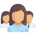 Estrutura Administrativa: Ícone ilustrando funcionários perfilados