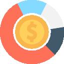 Orçamentos: Ícone ilustrando gráfico pizza com uma moeda no centro e dentro da moeda um cifrão