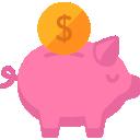 Receitas Públicas: Ícone ilustrando um cofre porquinho com uma moeda sendo inserida