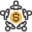 Previdência Municipal: Ícone ilustrando pessoas formando um círculo com uma moeda no centro