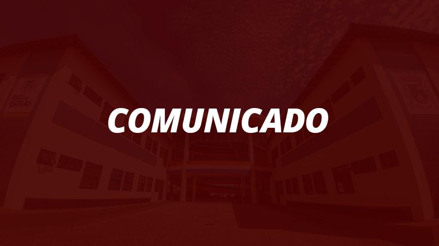 Imagem com foto da sede administrativ ao fundo escrito Comunicado em primeiro plano