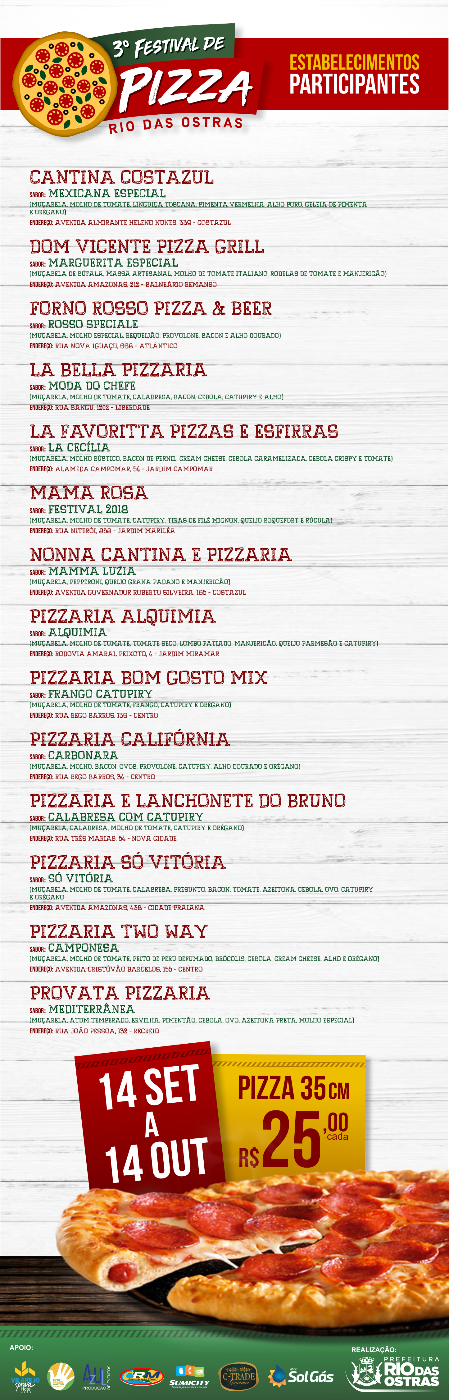 3º Festival de Pizza Rio das Ostras