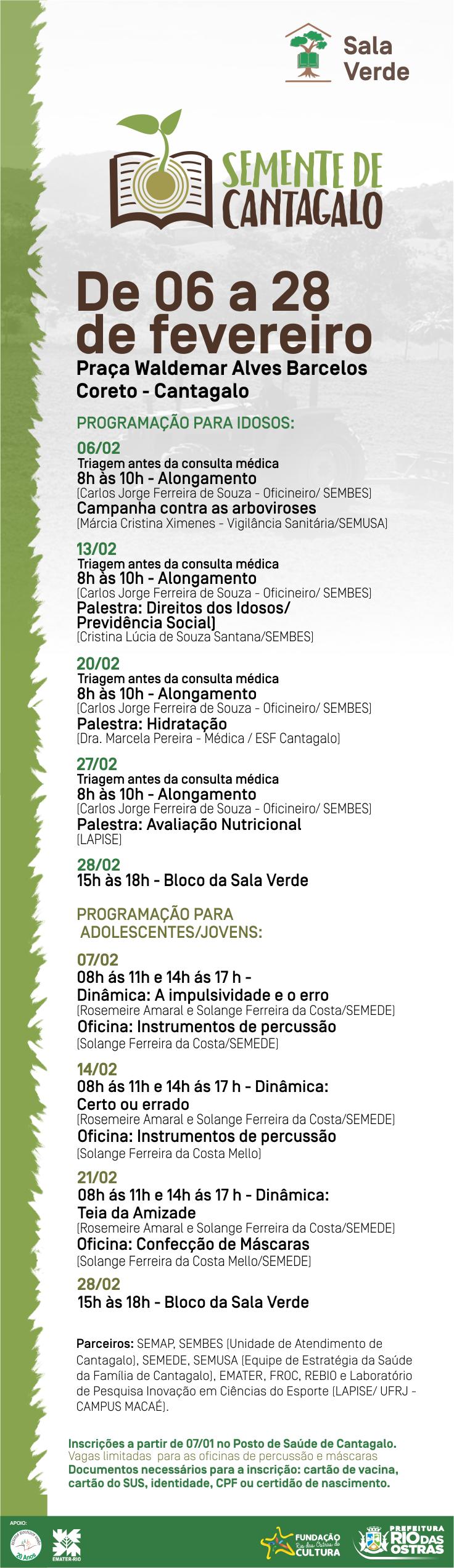 Programação Sala Verde - Fevereiro