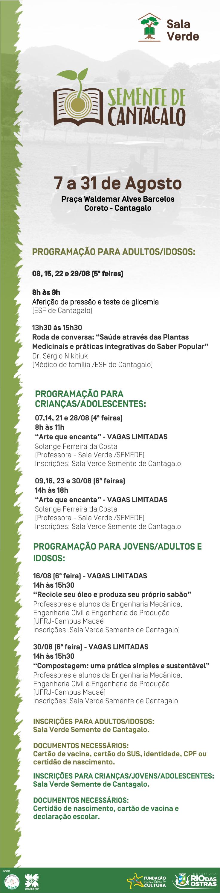 Sala Verde - Sementes de Cantagalo | Agosto
