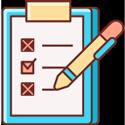 Icone de uma prancheta com checklist marcado