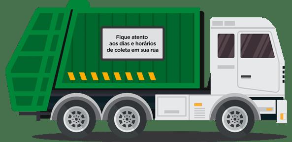 Ilustração de um caminhão de lixo - Por cima da imagem escrito: Fique atento! Descarte o seu lixo apenas nos dias e horários de coleta em sua rua!