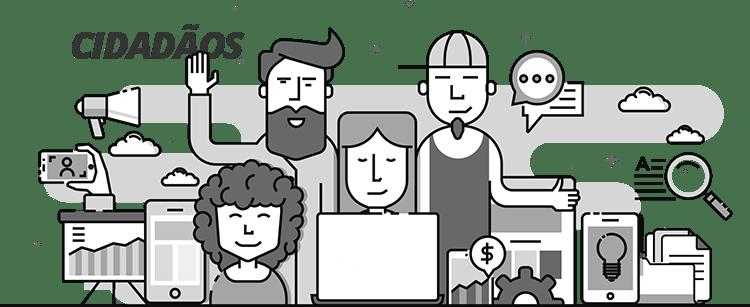 Portal do Servidor - Ilustração com vários elementos de serviços