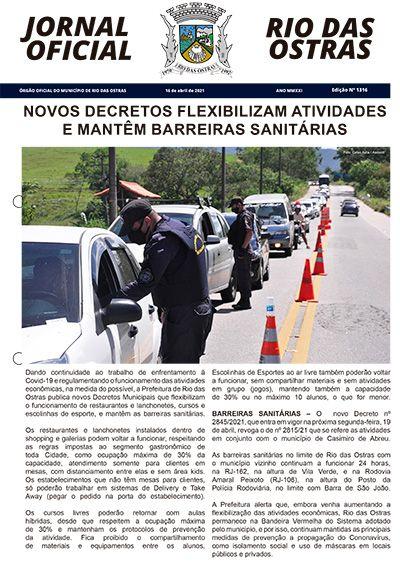 Capa da última edição do Jornal Oficial